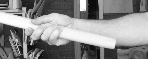 fig 5. two handed grip, held one hand